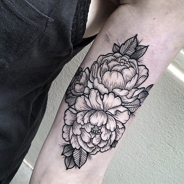 cd179bec0413a Black Outline Peony Flowers Tattoo On Left Bicep By Zmierzloki