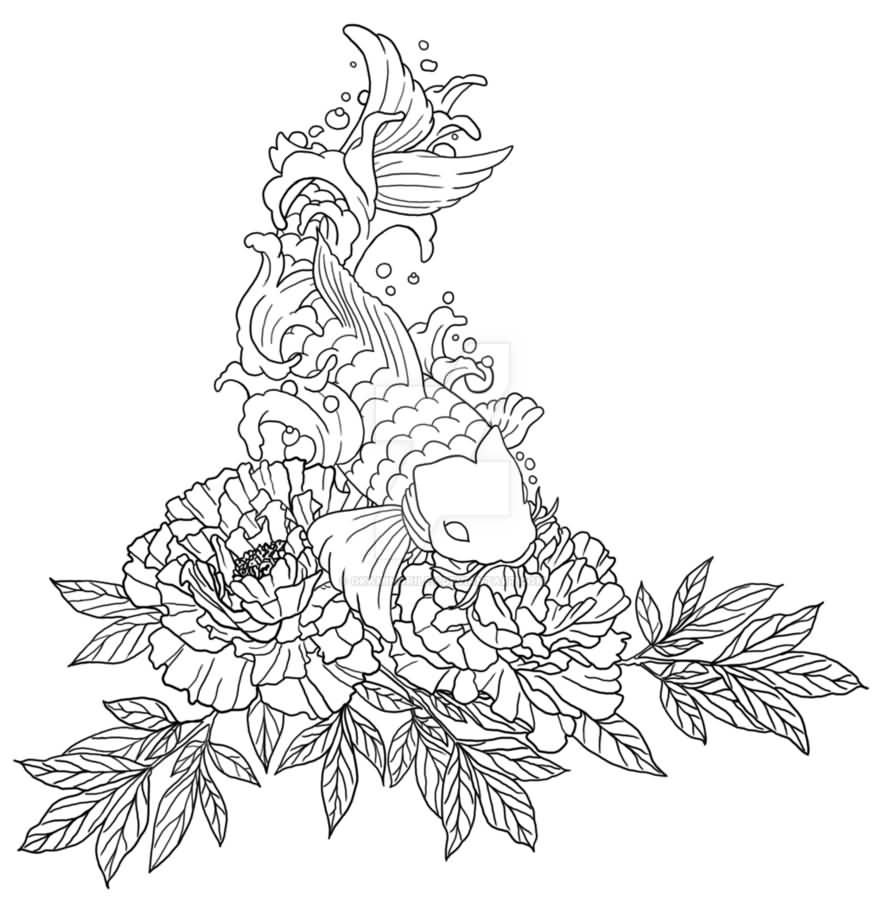 Black Outline Peony Flowers With Koi Fish Tattoo Stencil