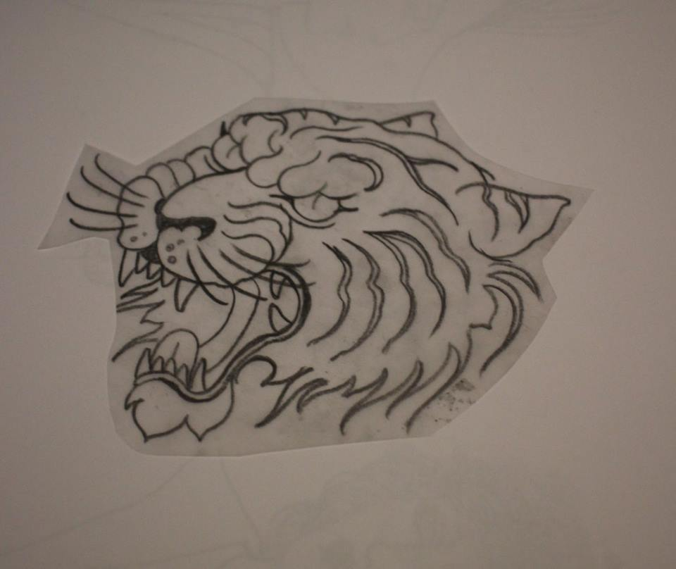 Black Outline Roaring Tiger Head Tattoo Design