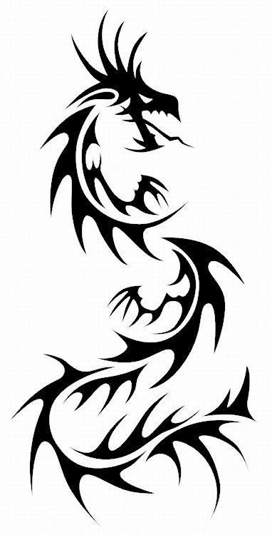 black tribal chinese dragon tattoo stencil