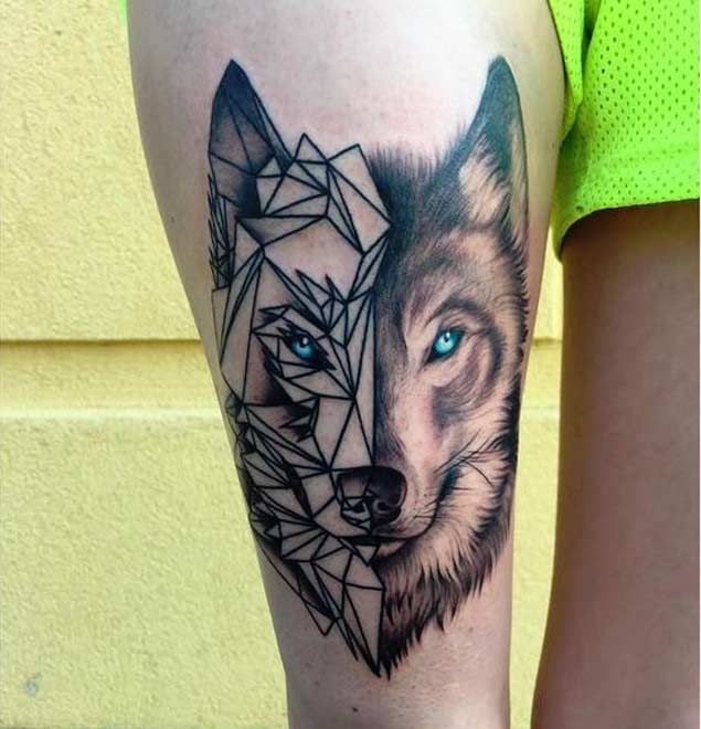 46 Unique Wolf Head Tattoos Ideas: Blue Eyes Geometric Wolf Head Tattoo On Leg