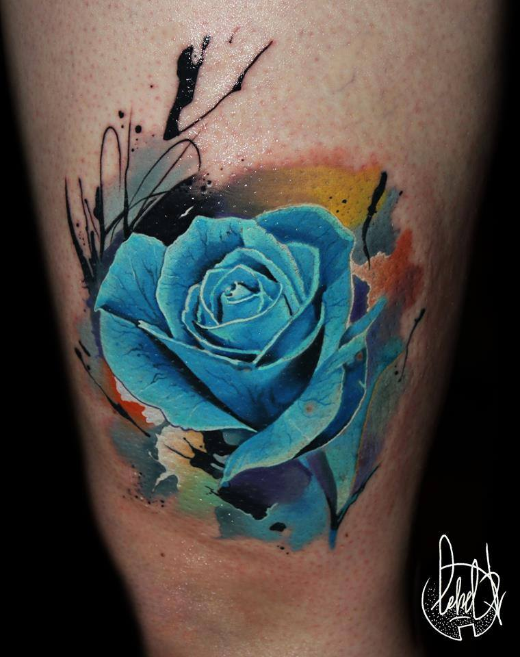 Blue Ink Rose Tattoo On Thigh
