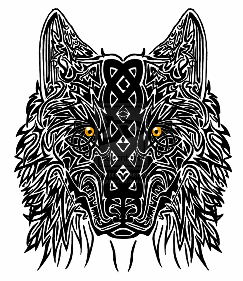 Celtic Yellow Eyes Mandala Wolf Tattoo Design