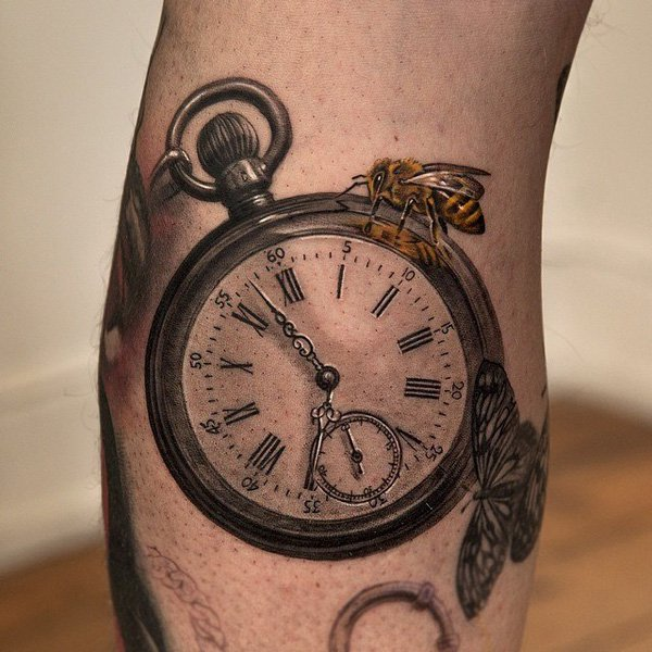 Classic 3D Bee On Pocket Watch Tattoo Design For Sleeve