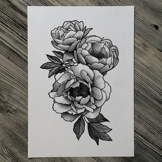 Classic Black And White Peony Flowers Tattoo Design