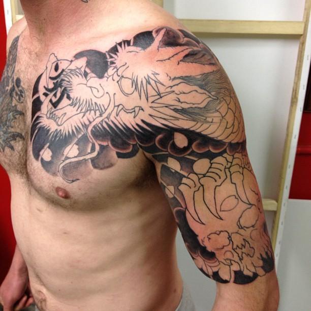 48 dragon tattoos on men half sleeve. Black Bedroom Furniture Sets. Home Design Ideas