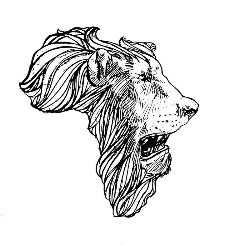 Classic Black Lion Head In Africa Map Tattoo Stencil