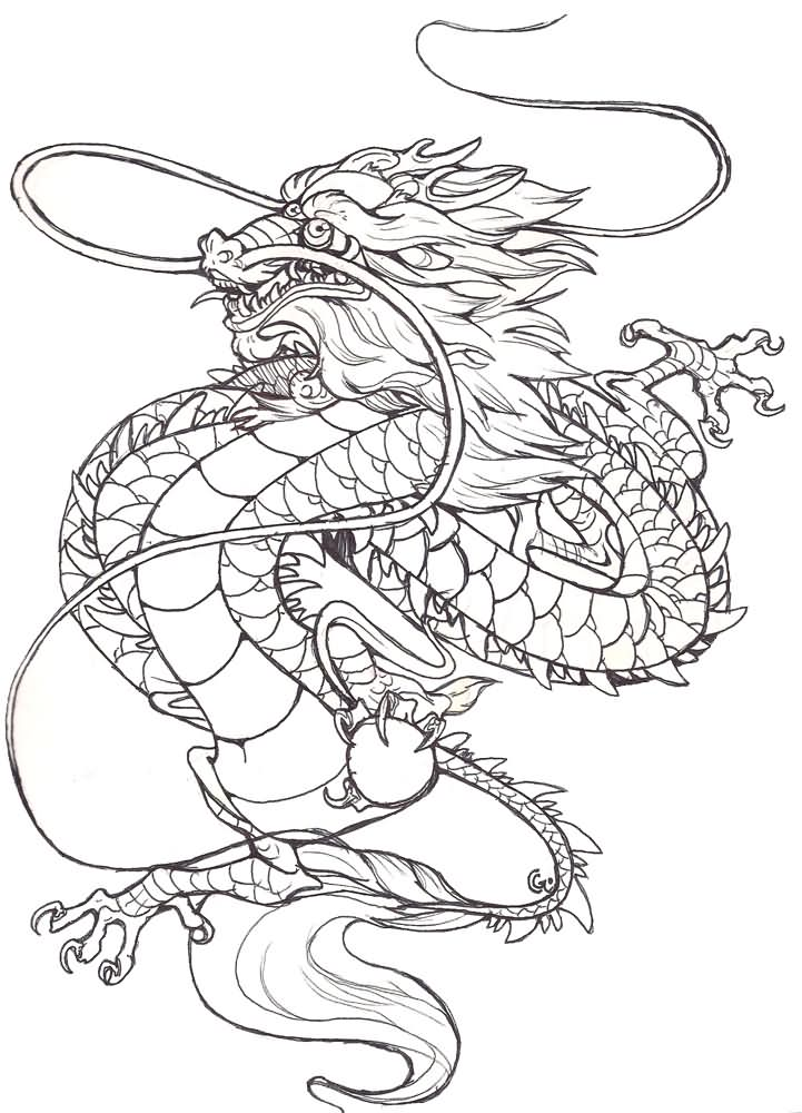 classic black outline chinese dragon tattoo design