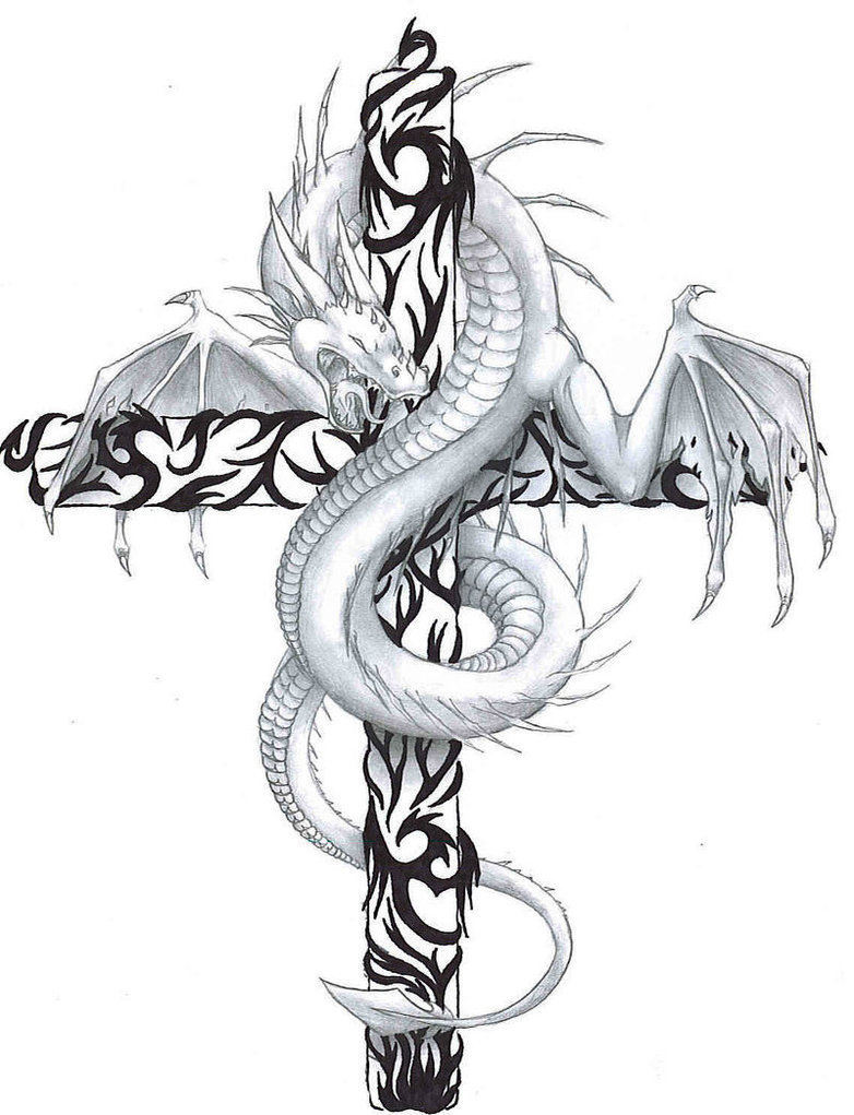 Classic Dragon With Cross Tattoo Design