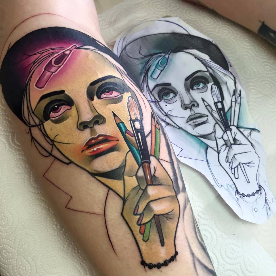 9c32495ec04d6 Classic Women Face Tattoo On Leg Calf