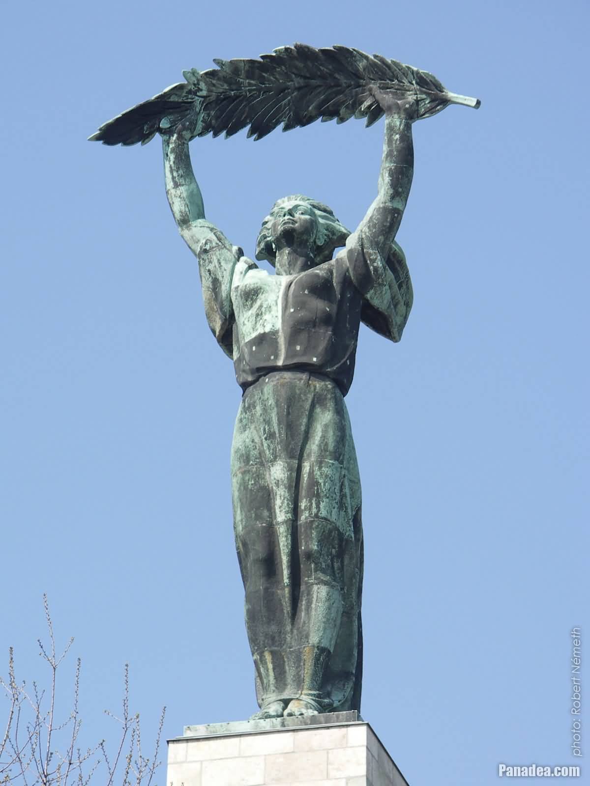 closeup of the liberty statue in budapest
