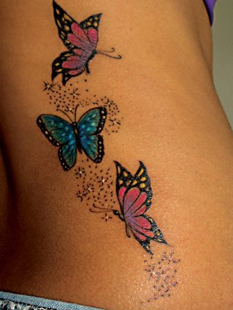 fdbc65269 Colored Butterflies Tattoos On Rib Side