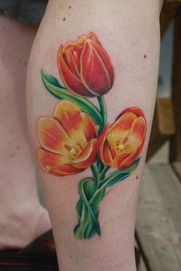 30+ Dutch Tulip Flowers Tattoos Collection