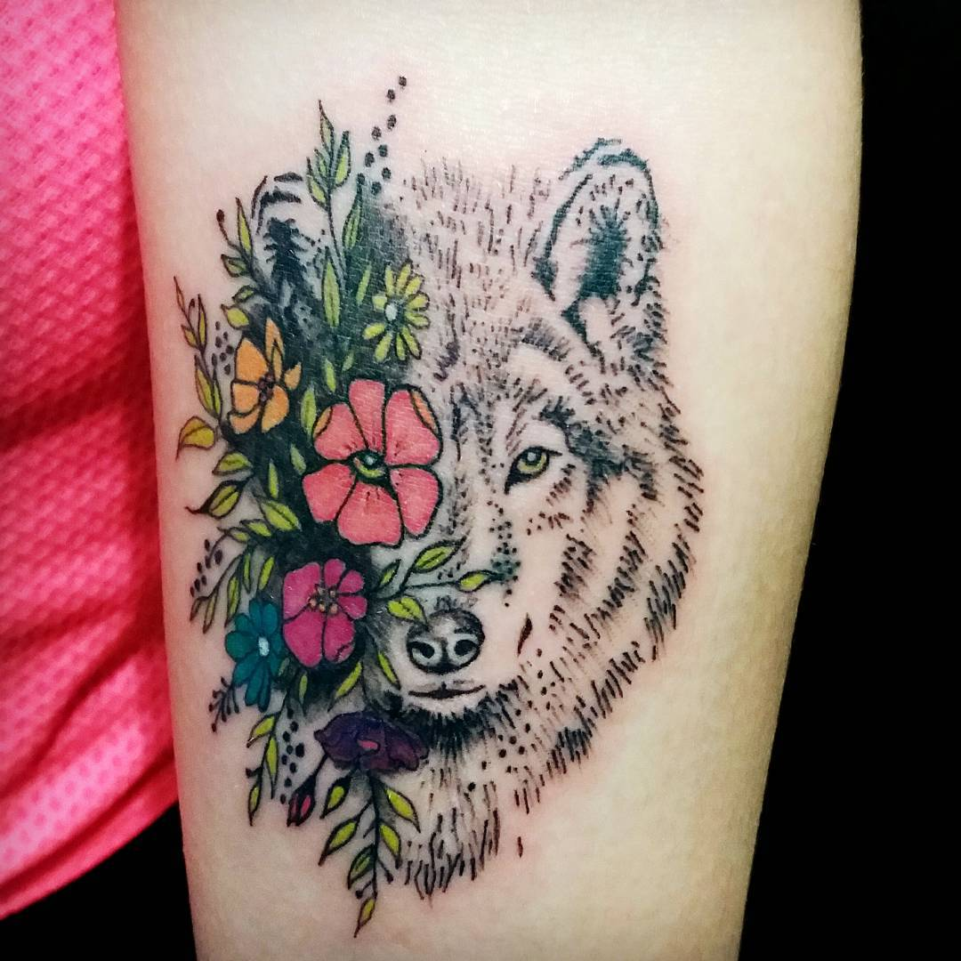 Colored Flowers And Wolf Head Tattoo Design