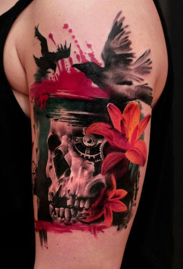 Colored Flowers and 3D Skull Tattoo On Left Bicep