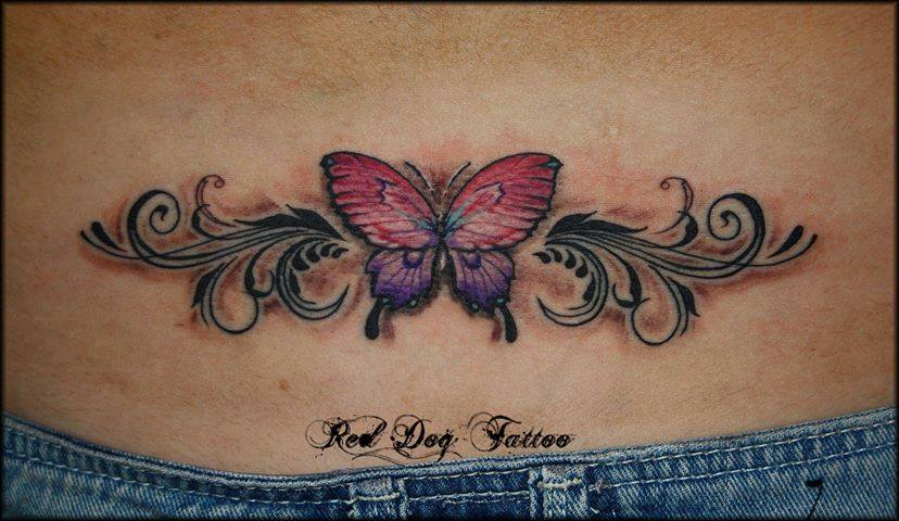 Butterfly lower back tattoo for girls for Lower back tattoo designs
