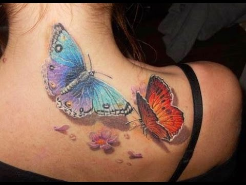Colorful Butterfly Tattoos On Upper Back