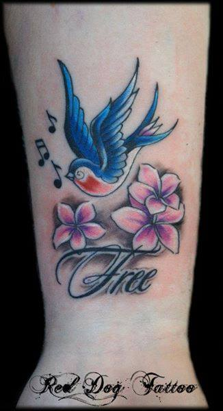 Colorful Flying Bird With Flowers Tattoo On Wrist