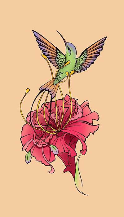 Colorful Geranium Flower With Flying Bird Tattoo Design