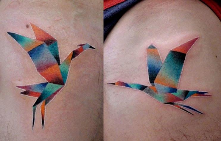 Colorful Paper Bird Tattoo On Thigh