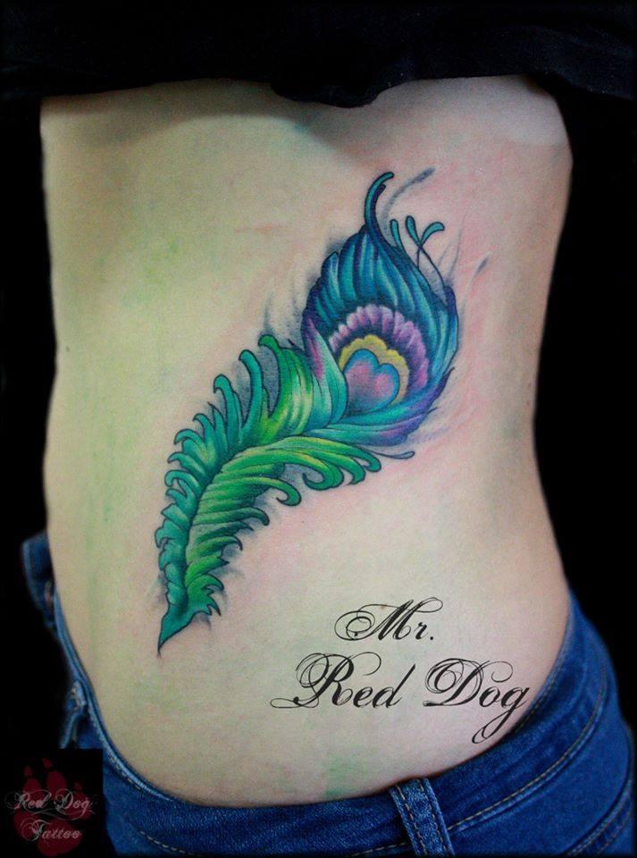d2e425fe7b9a6 Colorful Peacock Feather Tattoo On Left Side Rib