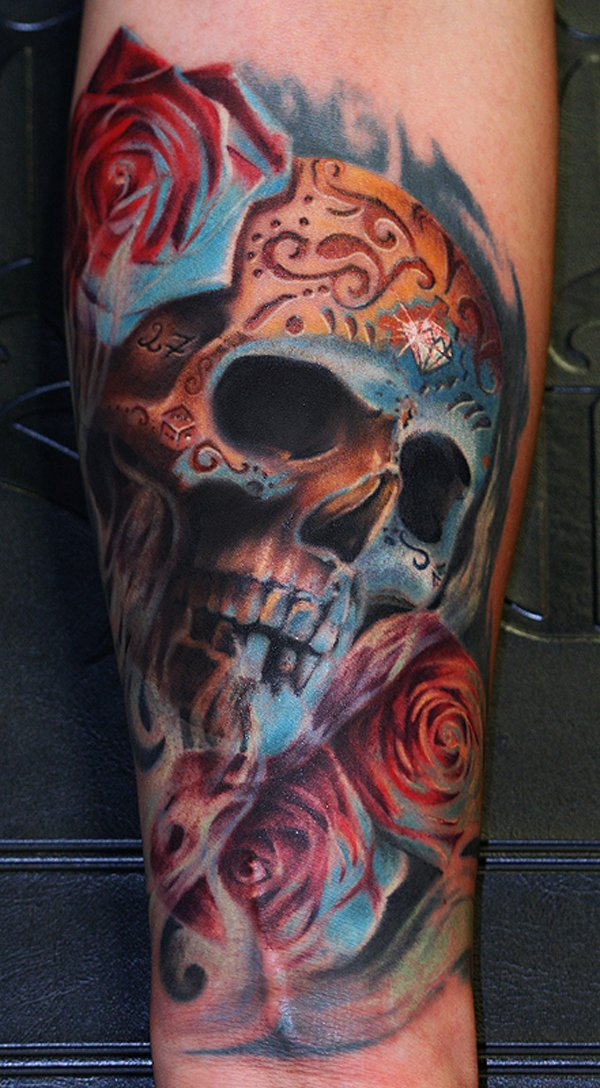 Colorful Roses And 3D Skull Tattoo On Leg