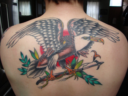 Colorful Traditional Albatross Tattoo On Man Upper Back