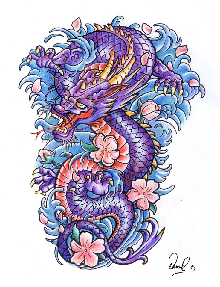 colorful traditional dragon with flowers tattoo design