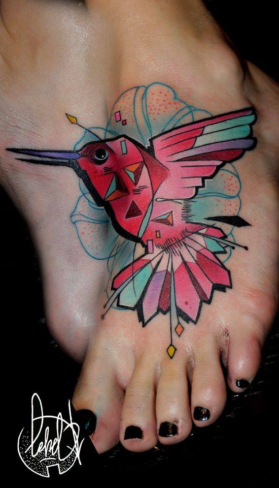 Cool Abstract Bird Tattoo On Girl Left Foot
