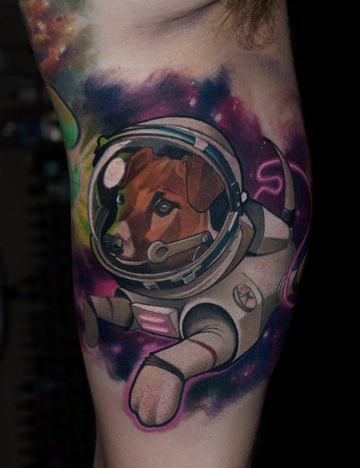 Cool Astronaut Dog Tattoo On Right Bicep