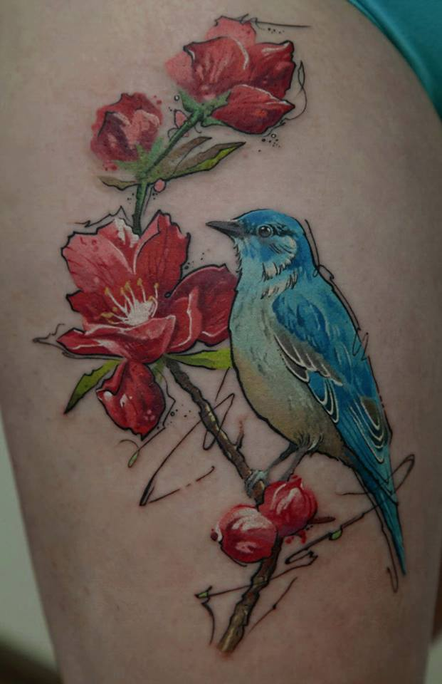 Cool Flower Tattoos: Thigh Tattoos