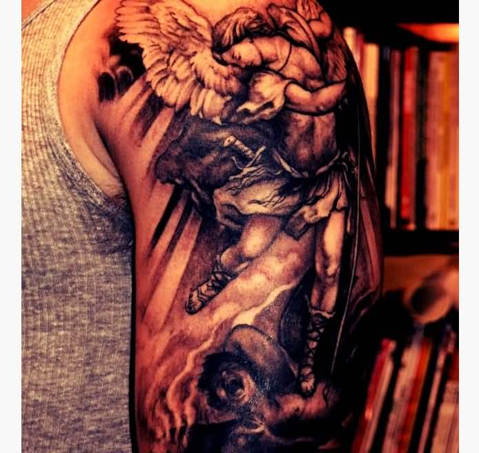 Cool Black Ink Archangel Michael Tattoo Design For Half Sleeve