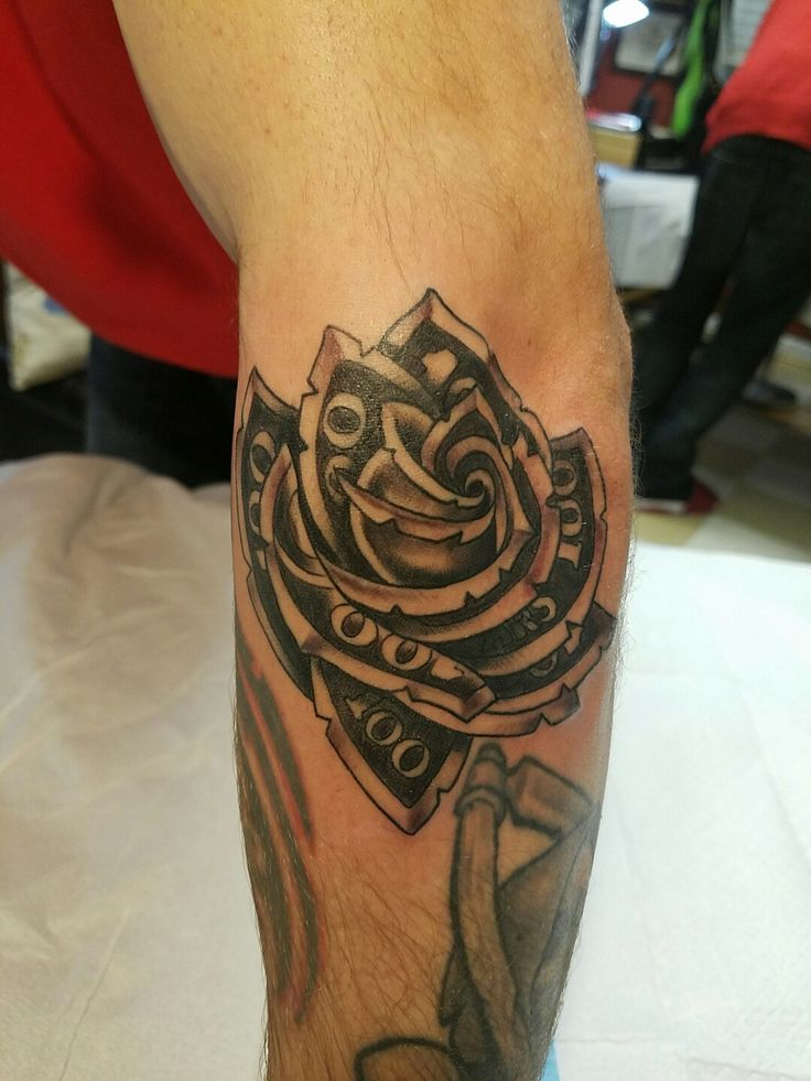 6 money rose tattoos on elbow for Tattoo on elbow