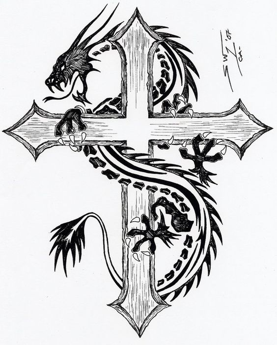 Cool Black Tribal Dragon With Cross Tattoo Design
