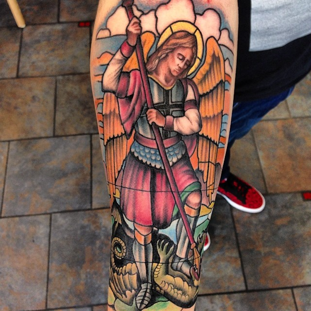 Cool Colorful Archangel Michael Tattoo Design For Arm