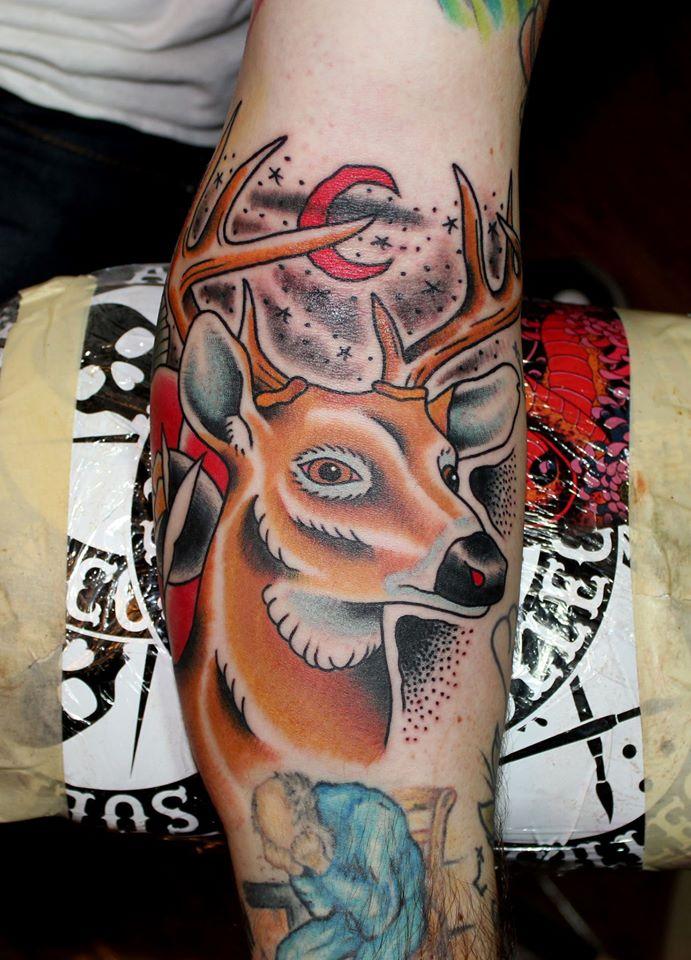 Cool Deer Head Tattoo On Leg Calf