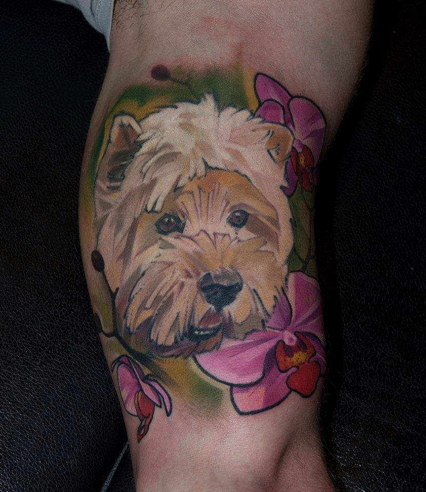 Cool Dog Head Tattoo On Bicep