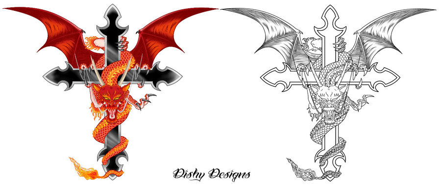 Cool Dragon With Cross Tattoo Design By Dishy Designs