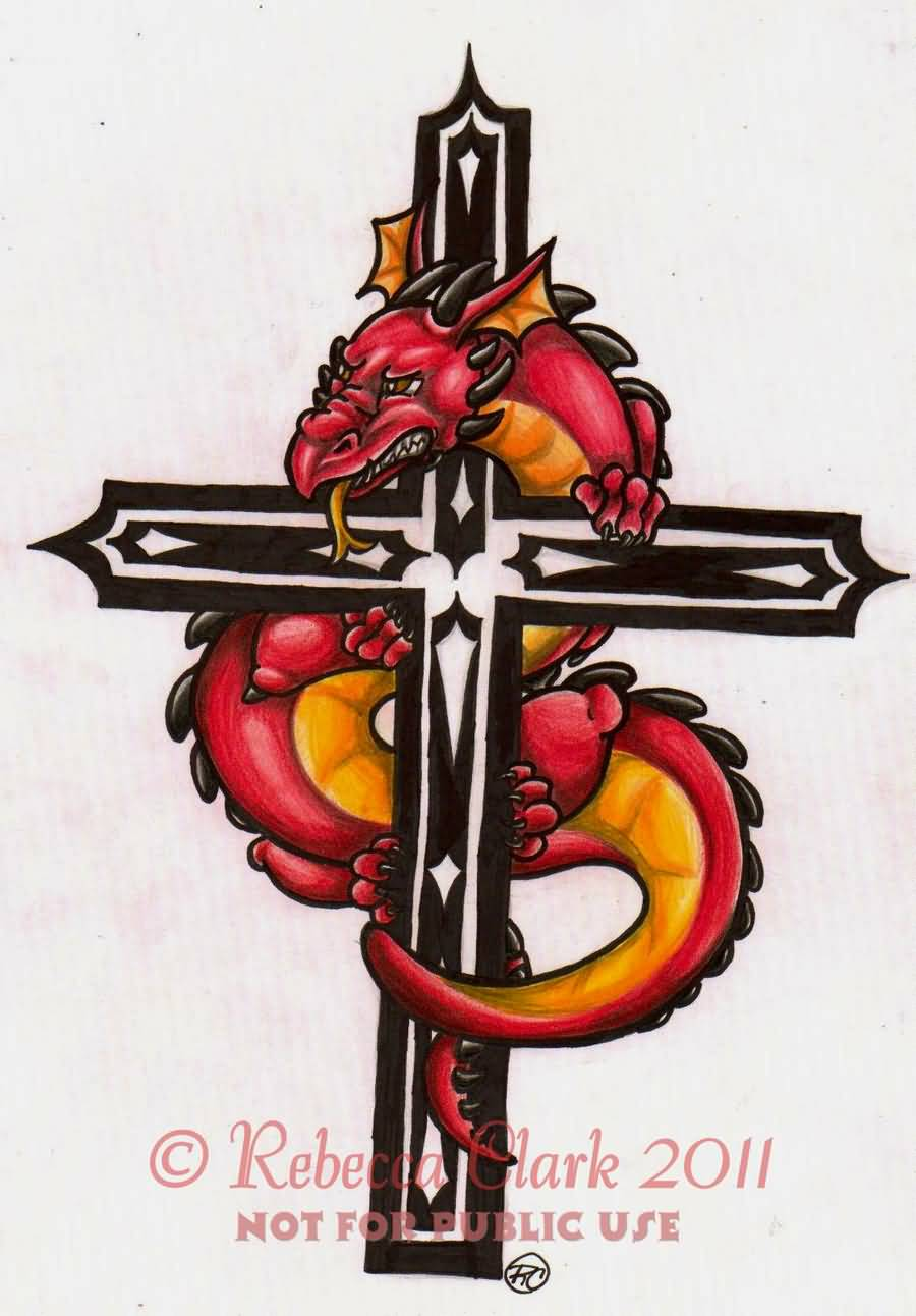 Cool Dragon With Cross Tattoo Design By InsaneRoman