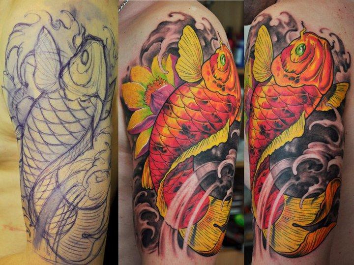 Cool Koi Fish Tattoo On Man Left Half Sleeve