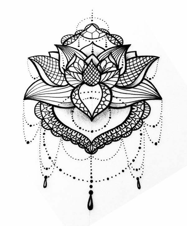 Lotus Flower Mandala Tattoo Design on indian furniture