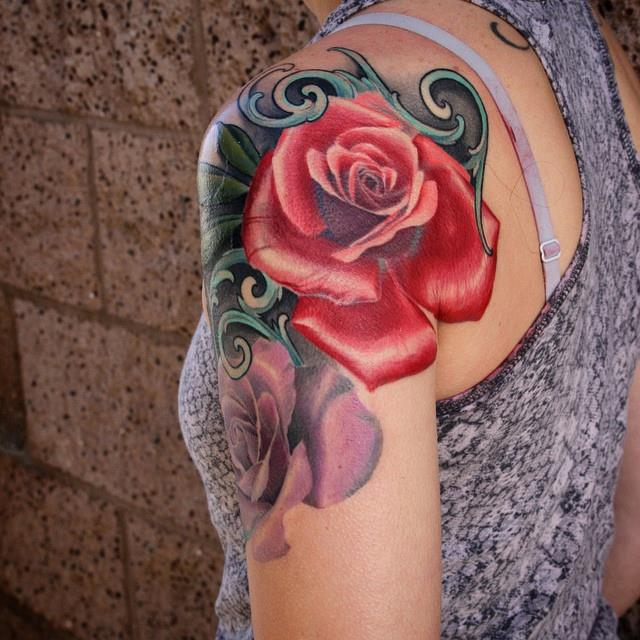 Cool Rose Tattoo On Women Left Shoulder