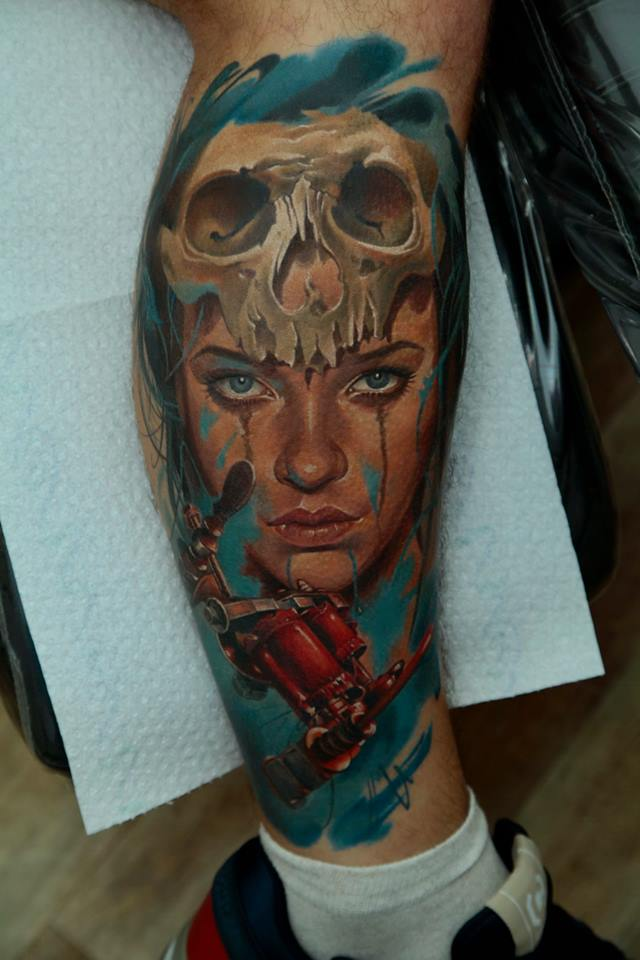 c58a74aeb17cd Cool Women Face With Skull Tattoo On Leg Calf