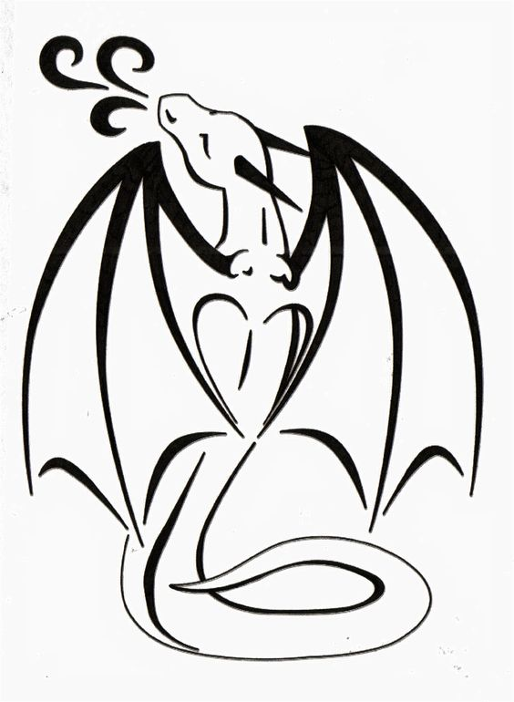 cute black outline dragon tattoo design