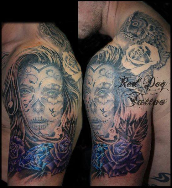 Dia De Los Muertos Girl Face With Diamond Rose Tattoo On Left Shoulder