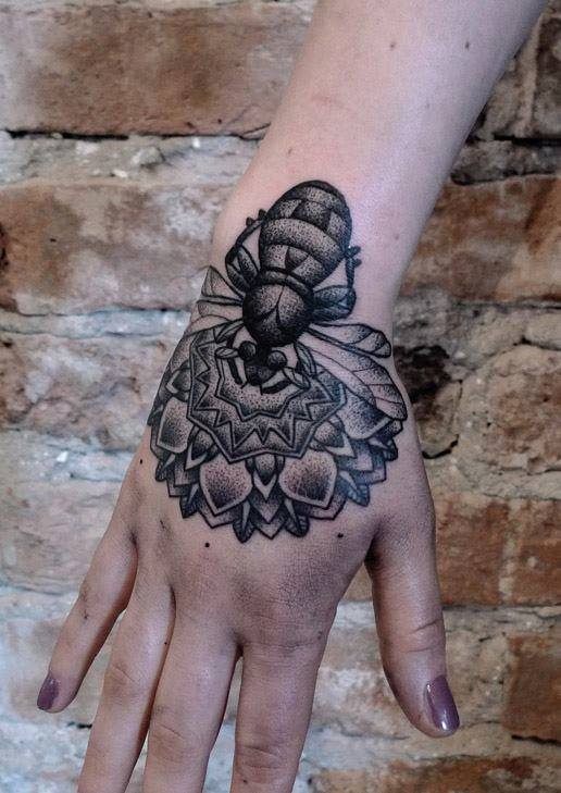 Dotwork Bee With Flower Tattoo On Girl Right Hand