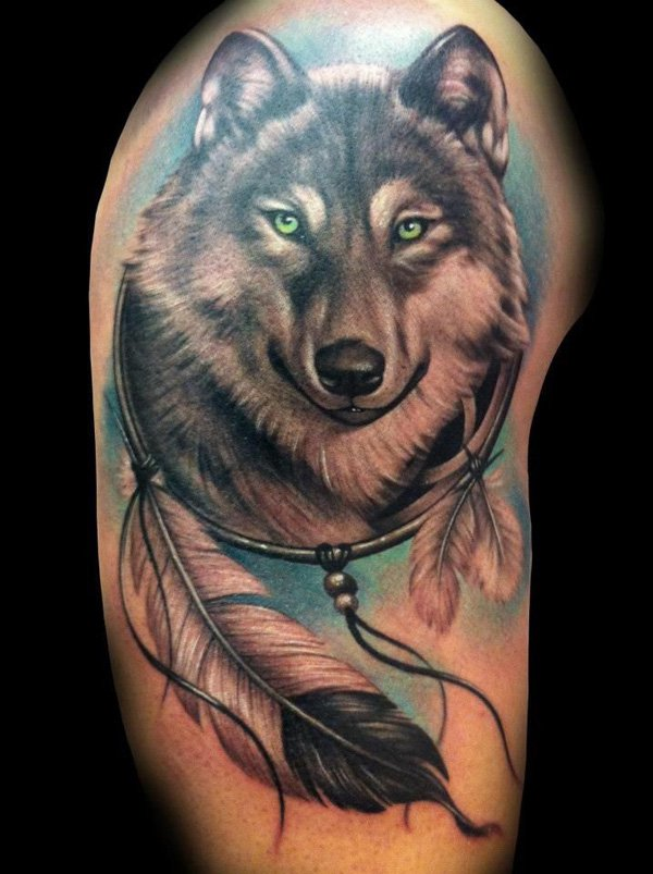 Dreamcatcher Wolf Head Tattoo On Shoulder Awesome Wolf Head Dream Catcher