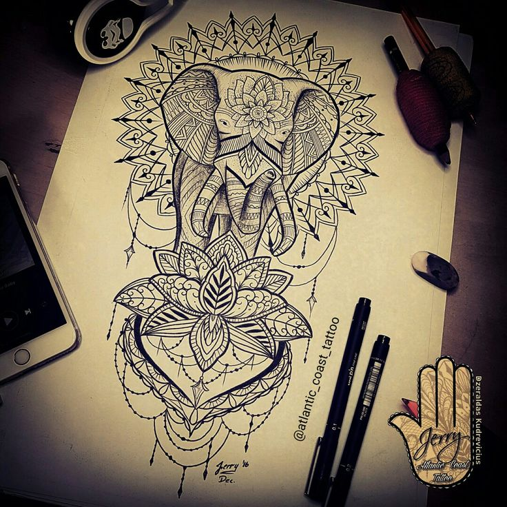 99bf47d95 Dotwork Mandala Tattoo Designs. Elephant And Mandala Flower Tattoo Design