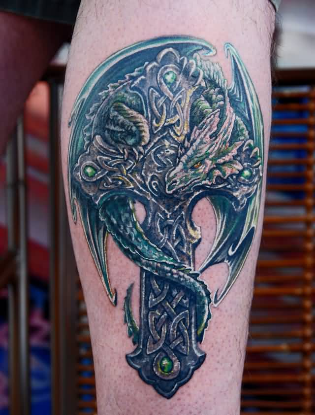 Fantastic Dragon With Celtic Cross Tattoo Design For Leg By Litos