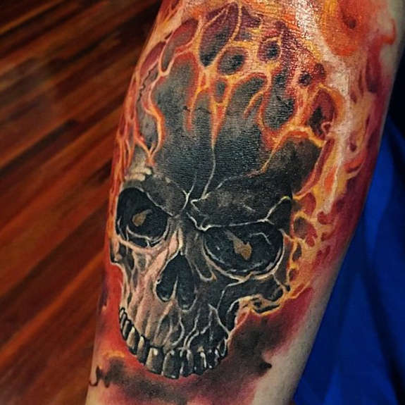 66ce3d55822d3 Flaming 3D Skull Tattoo On Arm Sleeve